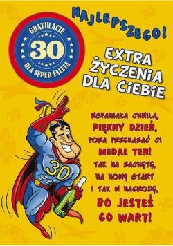Karnet Party naklejany B6+koperta Urodziny 30 wz06