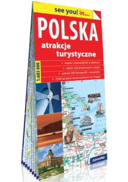 Polska Atrakcje turystyczne papierowa mapa samochodowa 1:685 000
