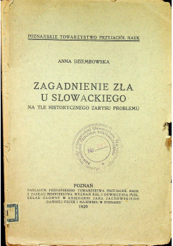 Zagadnienie zła u Słowackiego 1929 r