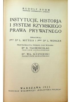 Instytucje historja i system rzymskiego prawa prywatnego 1925 r.