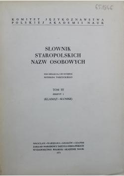 Słownik Staropolskich Nazw Osobowych Tom III Zeszyt 1