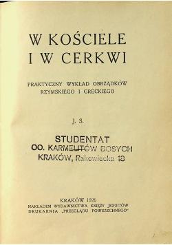 W Kościele i w Cerkwi  1926 r