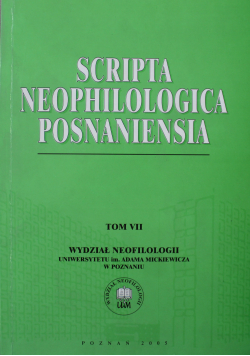 Scripta Neophilologica Posnaniensia Tom VII